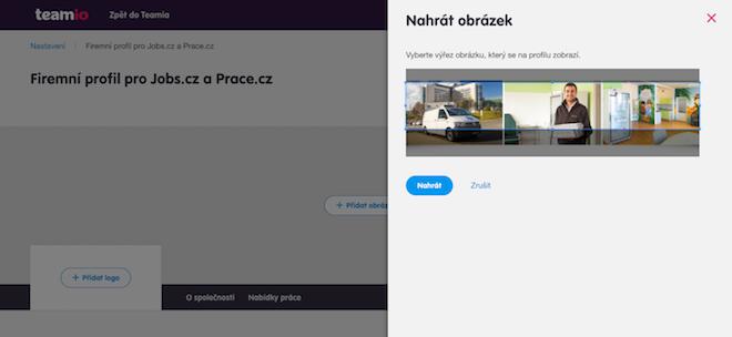 Firemní profily – ořez fotky – Teamio náborová aplikace
