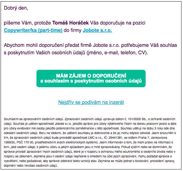 E-mail doporučenému kamarádovi z Jobote