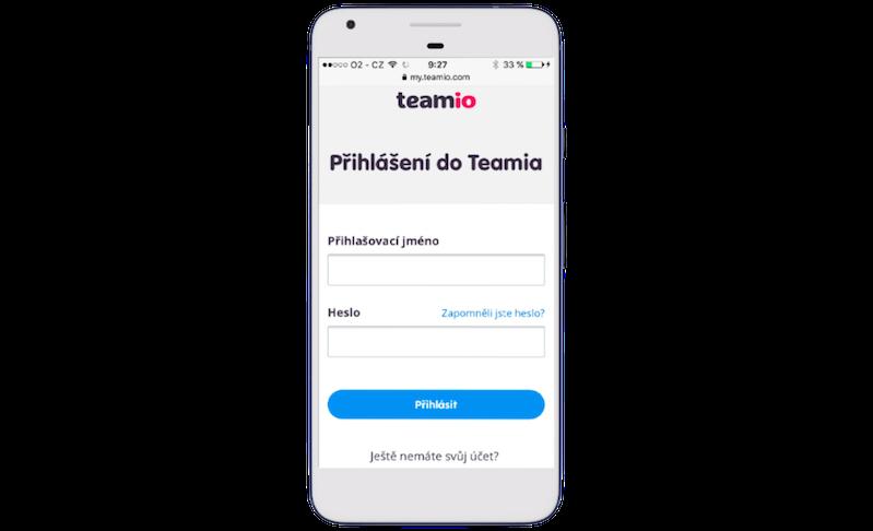 Responzivní přihlašovací stránka do Teamia