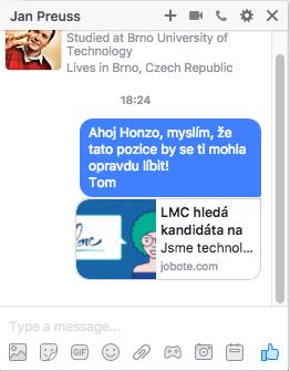 Jobote: Message po odeslání
