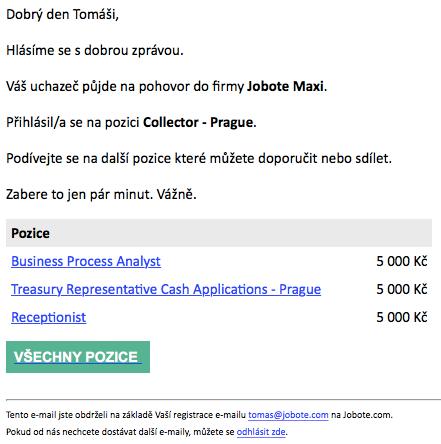 Jobote: e-mailová zpráva doporučiteli o změně stavu doporučeného