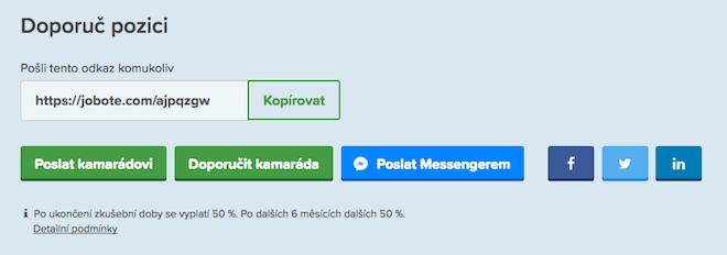 Doporučení pozice z Jobote přes FB Messenger
