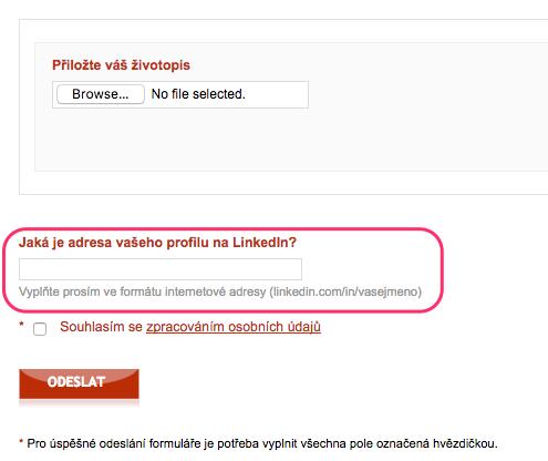 Teamio: náhled LinkedIn otázky ve flexidotazníku
