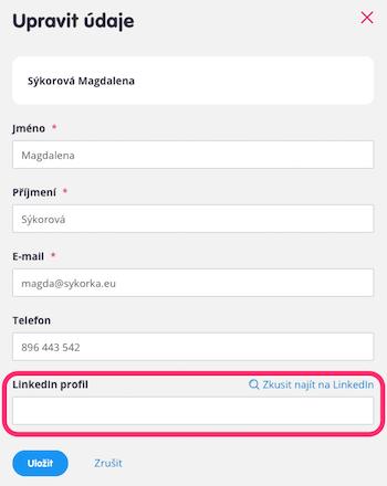Teamio: Linkedin – upravit údaje uchazeče