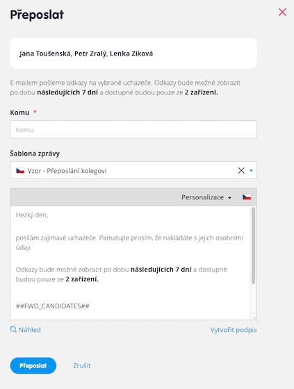 Bezpečnější akce Přeposlat přímo v náborové aplikaci Teamio