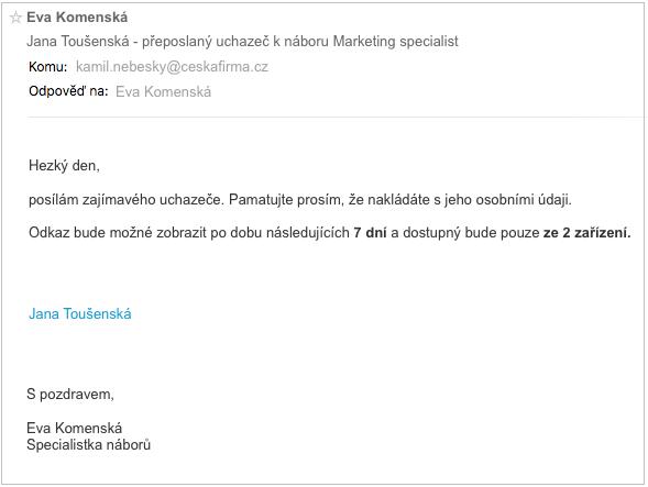 Email s odkazem na přílohu – náborová aplikace Teamio
