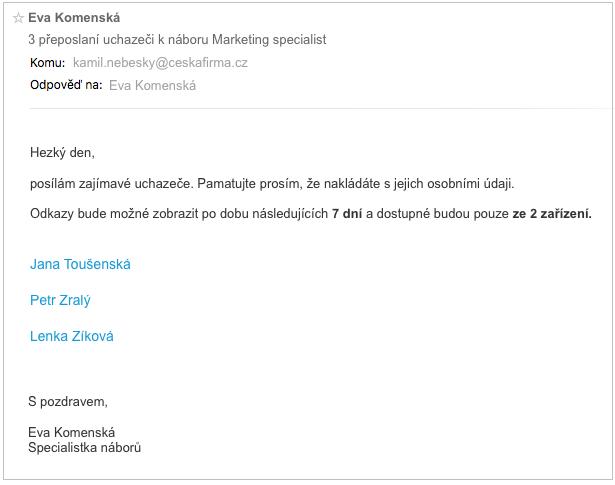 Znění e-mailu při hromadném přeposlání – HR systém Teamio