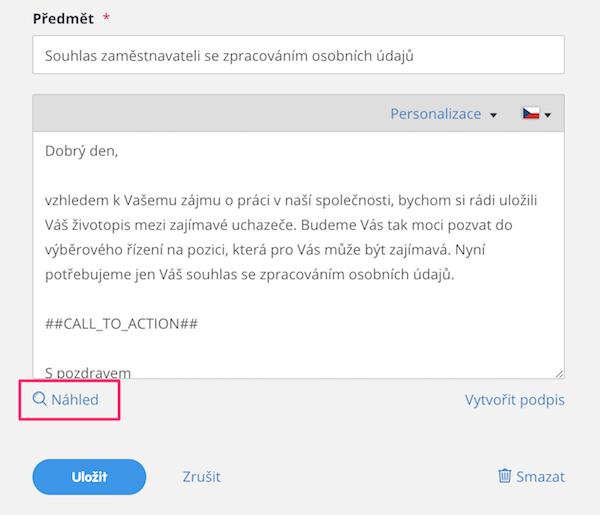 Náhled e-mailové zprávy přímo v Inboxu – náborová aplikace Teamio