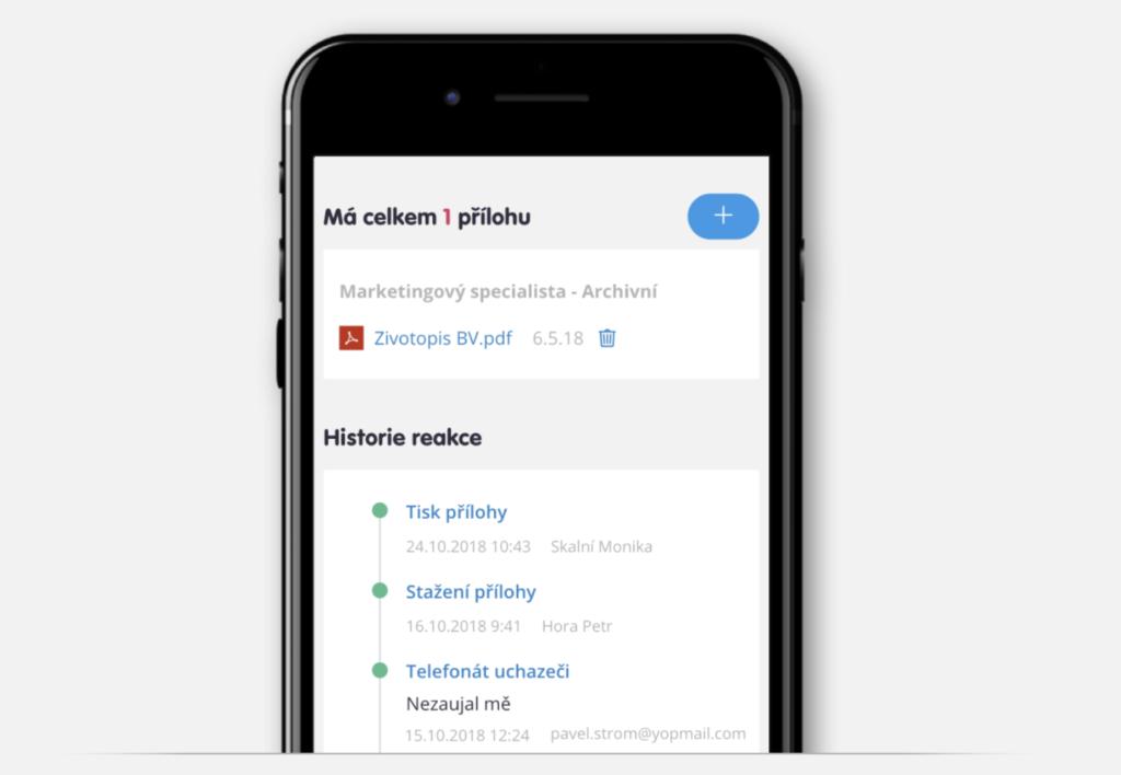 Záznam volání, tisku a stažení životopisu v náborové aplikaci Teamiu