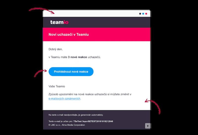 E-mailové upozornění o nových uchazečích v Teamiu